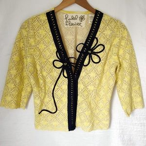 Anthropologie Field Flower Midnight Daisy Cardigan